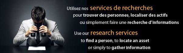 Services de recherches de personnes, d'actifs ou d'informations